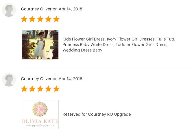 5 Star Review for Olivia Kate Couture