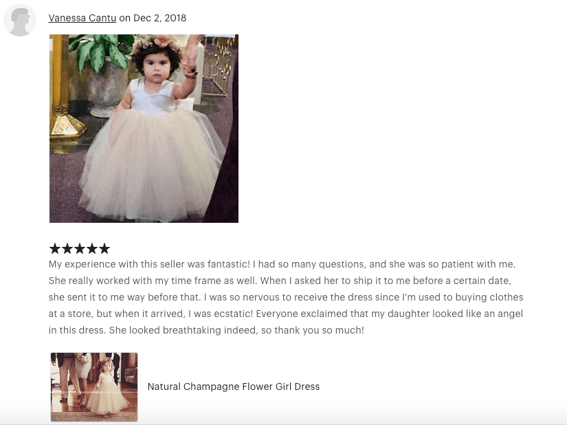 ⭐⭐⭐⭐⭐ My experience with this seller was fantastic! I had so many questions, and she was so patient with me. She really worked with my time frame as well. When I asked her to ship it to me before a certain date, she sent it to me way before that. I was so nervous to receive the dress since I'm used to buying clothes at a store, but when it arrived, I was ecstatic! Everyone exclaimed that my daughter looked like an angel in this dress. She looked breathtaking indeed, so thank you so much!