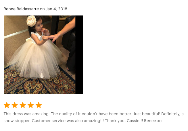 This dress was amazing. The quality of it couldn't have been better. Just beautiful! Definitely, a show stopper. Customer service was also amazing!!! Thank you, Cassie!!! Renee xo